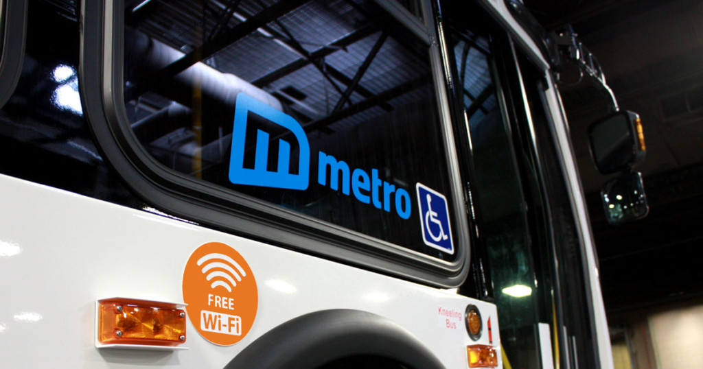 """Free Wi-Fi-"" stickers will indicate a Wi-Fi-equipped Metro Vehicle"