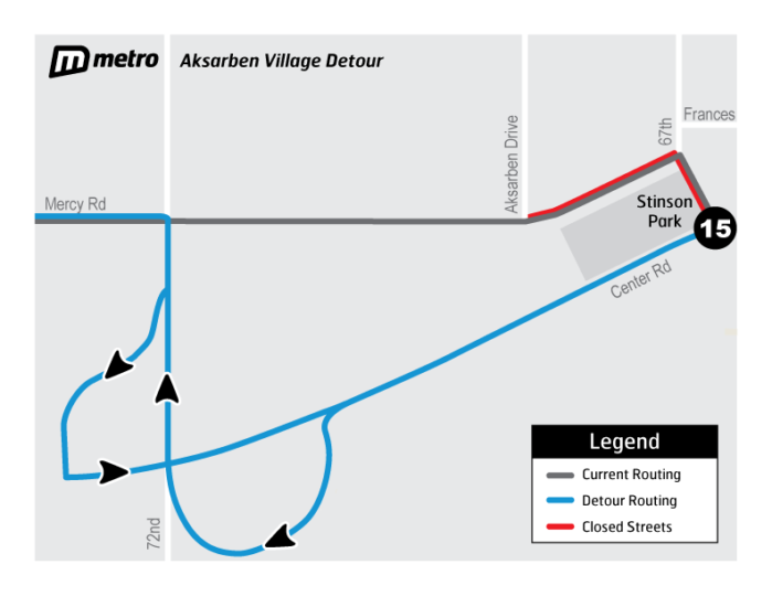 Aksarben Village Detour using Mercy road to 72nd to Center road
