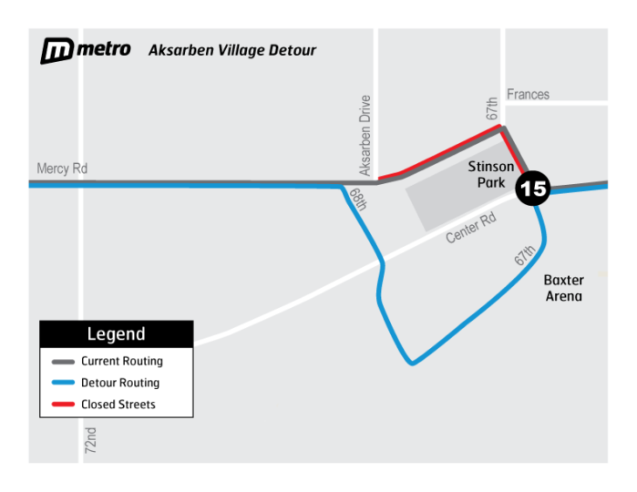 Aksarben Village Detour using Mercy Rd to 68th to 67th Street
