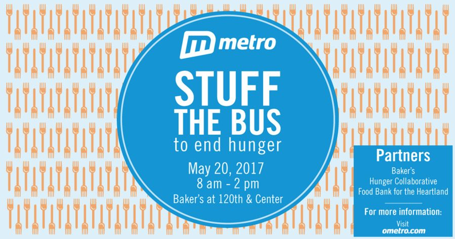 Stuff the Bus to end hunger on May 20, 2017 from 8 a.m. to 2 p.m. at Bakers on 120th & Center.