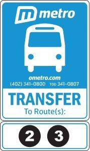 Metro transfer bus sign
