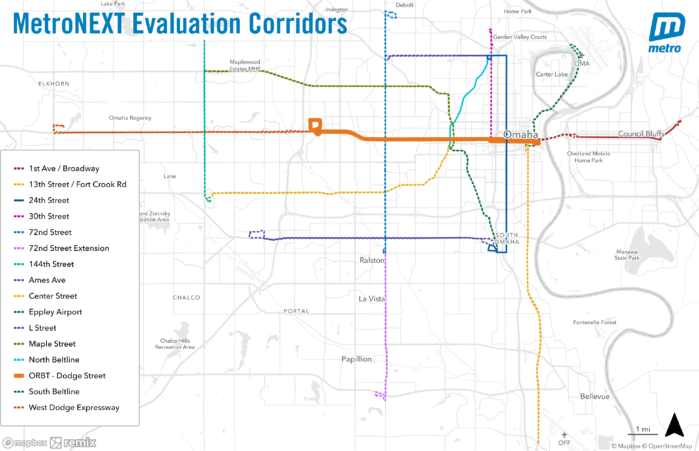 Map showing 15 corridors selected for further evaluation for enhanced transit service