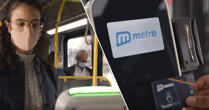 Left photo shows rider wearing mask standing at fare reader flashing a green acceptance light; right photo shows rider's hand tapping a Umo smart card on the fare reader