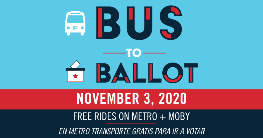 Metro is offering free rides on Metro and MOBY on November 3rd, 2020 for Election Day.