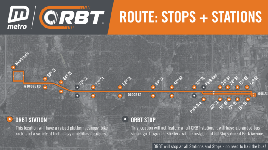 The ORBT route extends from Westroads Mall to downtown Omaha.