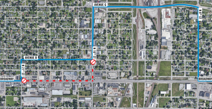 Map showing Blue Route detour due to construction on Broadway