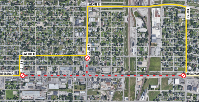 Map showing Yellow Route detour due to Broadway construction