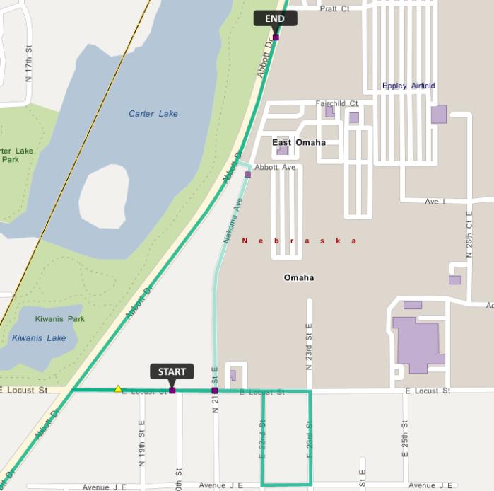 Route 16 northbound detour map